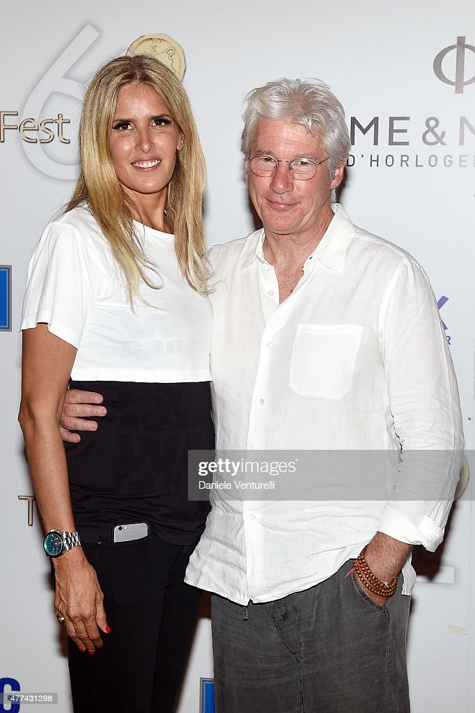 Richard Gere and Tiziana Rocca attend Day 5 of the 61st Taormina Film Fest on June 17 2015 in Taormina Italy