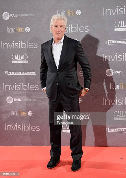 Richard Gere attends the 'Invisibles' Premiere at Callao Cinema on November 23 2015 in Madrid Spain