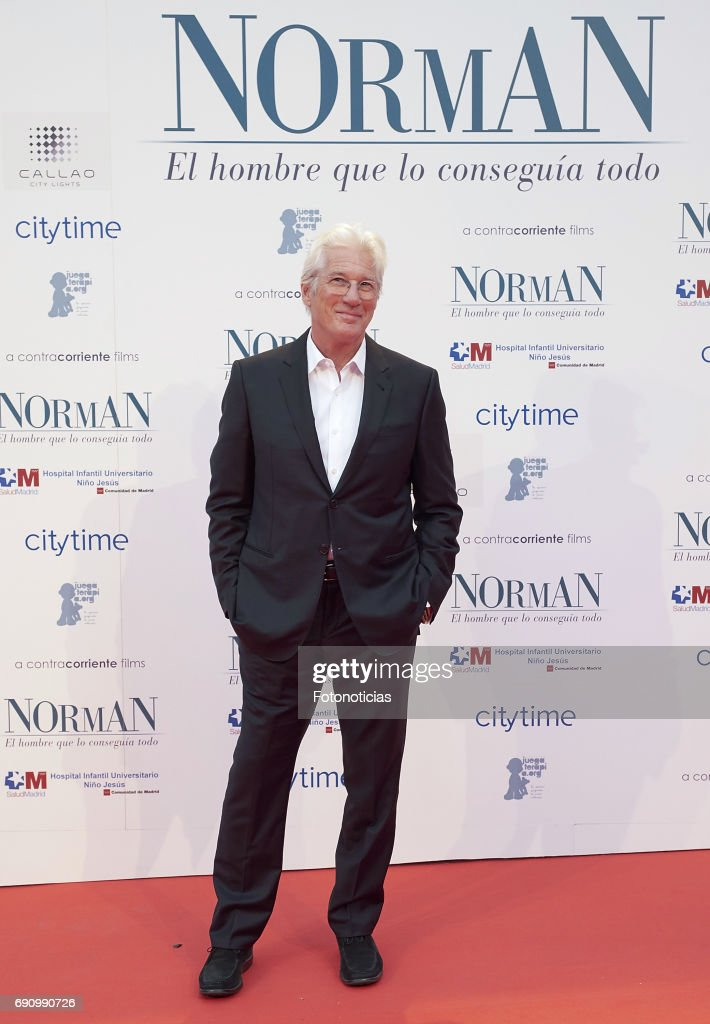 Richard Gere attends the 'Norman: The Moderate Rise and Tragic Fall of a New York Fixer' (Norman: El Hombre Que Lo Conseguia Todo) premiere at the Callao cinema on May 31, 2017 in Madrid, Spain.