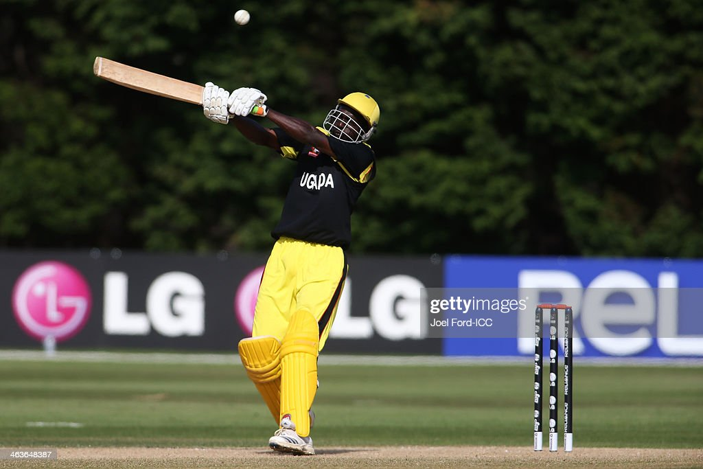 Richard Gideon Okia of Uganda plays a shot during an ICC World Cup qualifying match against Kenya on January 19, 2014 in Mount Maunganui, New Zealand.