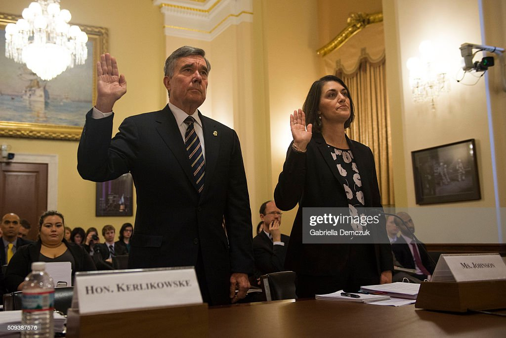 Richard Gil Kerlikowske, commissioner of U.S. Customs and Border Protection and Hillary Batjer Johnson, deputy coordinator for homeland security, screening, and designations in the State Department's Bureau of Counterterrorism, are sworn in to testify before the House Homeland Security Committee on 'National Security and Law Enforcement: Breaking the New Visa Waiver Law to Appease Iran' on Capitol Hill on February 10, 2016 in Washington, D.C. Questions have been raised over the misuse of visa waivers, exempting some individuals from the Visa Waiver Program Improvement and Terrorist Travel Prevention Act that was passed into law last year.