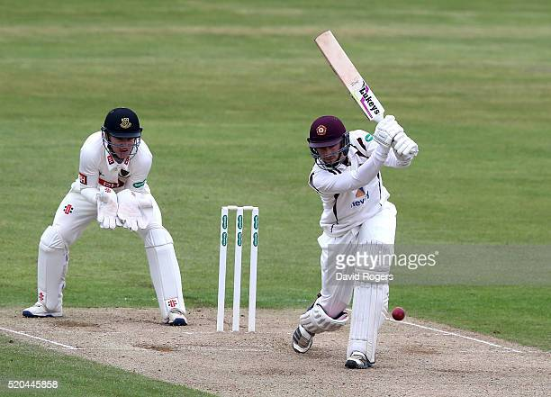 Richard Gleeson of Northamptonshire drives during the Specsavers County Championship division two match between Northamptonshire and Sussex at the...