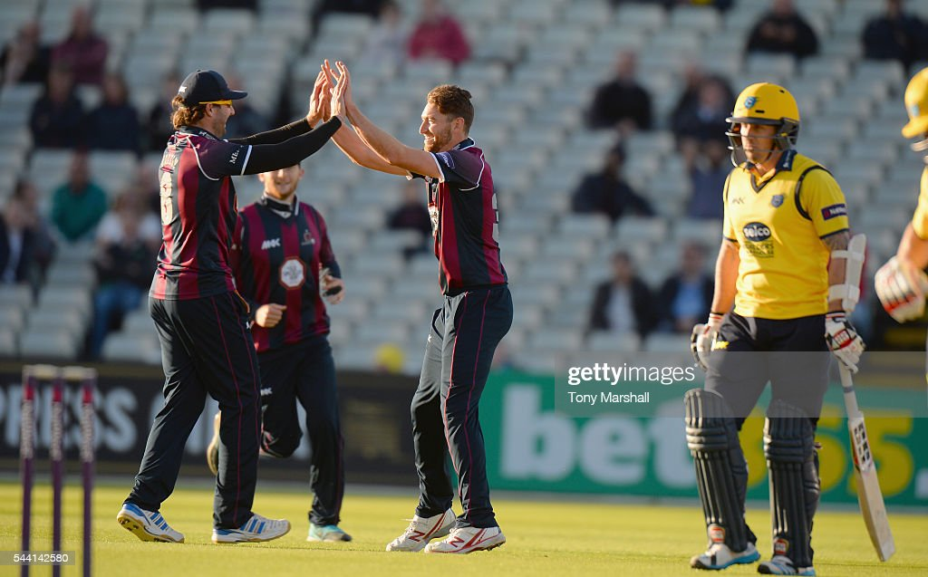 Richard Gleeson of Northants Steelbacks celebrates taking the wicket of <a gi-track='captionPersonalityLinkClicked' href=/galleries/search?phrase=Luke+Ronchi&family=editorial&specificpeople=724790 ng-click='$event.stopPropagation()'>Luke Ronchi</a> of Bimingham Bears during the NatWest T20 Blast between Birmingham Bears and Northants Steelbacks at Edgbaston on July 1, 2016 in Birmingham, England.
