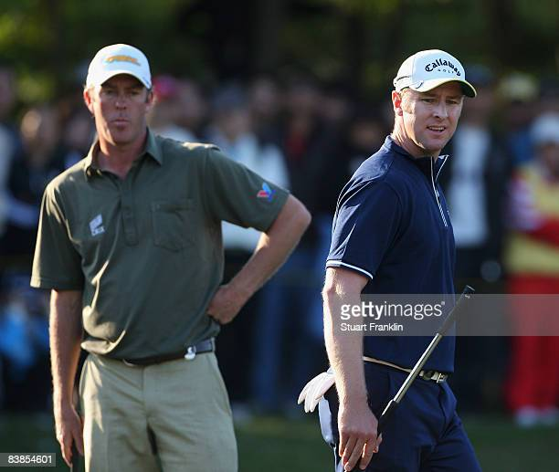 Richard Green and Brendan Jones of Australia on the 16th hole during the third round of the Omega Mission Hills world cup on November 29 2008 in...