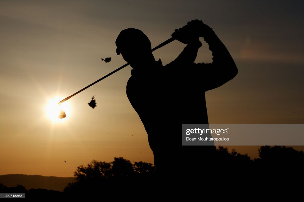 Richard Green of Australia hits a practice shot on the driving range prior to Day 1 of the Open de Espana held at PGA Catalunya Resort on May 15 2014...