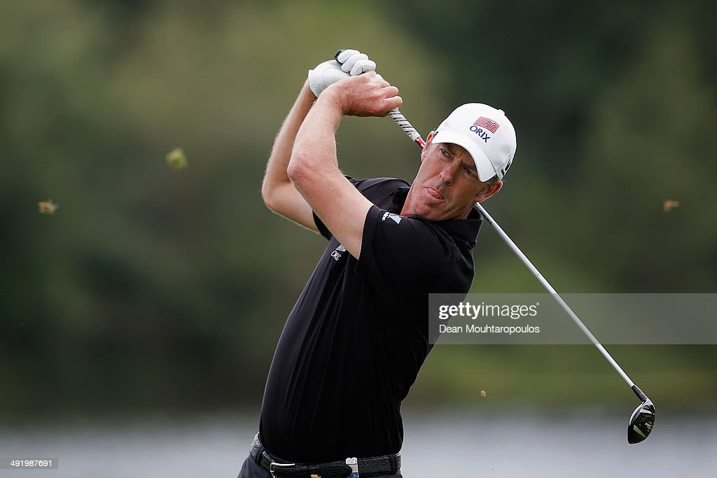 Richard Green of Australia hits his second shot on the 12th hole during the final round of the Open de Espana held at PGA Catalunya Resort on May 18...