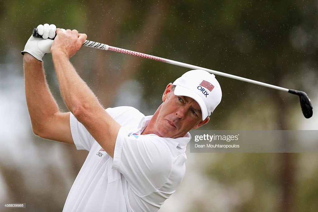 Richard Green of Australia hits his tee shot on the 16th hole during the Portugal Masters ProAm held at the Oceanico Victoria Golf Course on October...