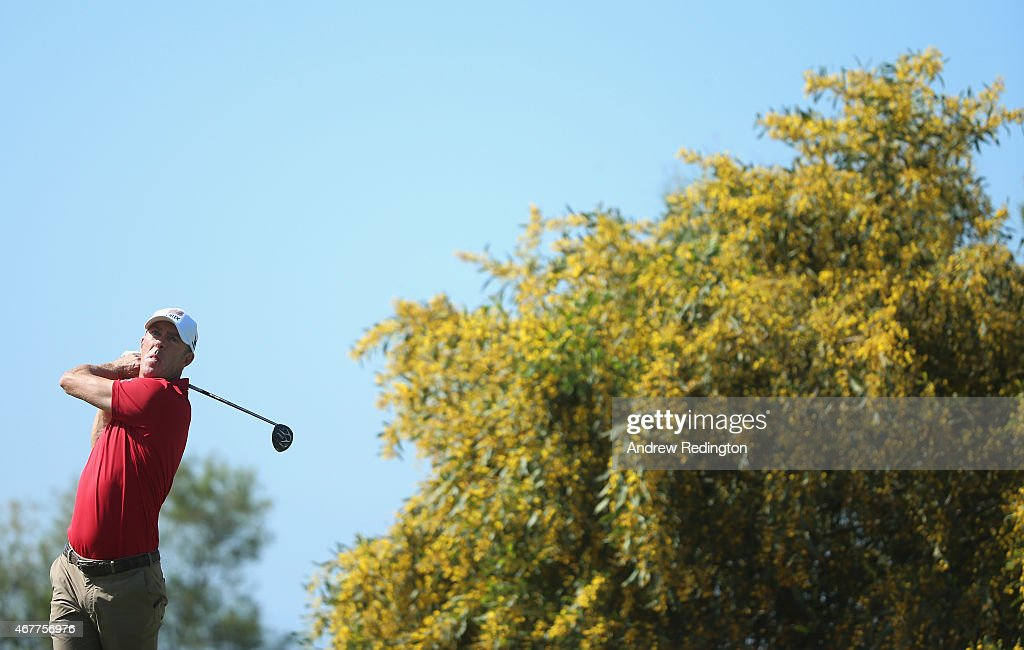 Richard Green of Australia hits his teeshot on the seventh hole during the second round of the Trophee Hassan II Golf at Golf du Palais Royal on...