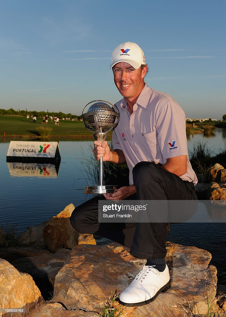Richard Green of Australia holds the winners trophy after the final round of the Portugal Masters at the Oceanico Victoria Golf Course on October 17...