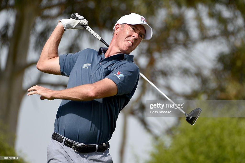 Richard Green of Australia in action during the final round of the Abu Dhabi HSBC Golf Championship at the Abu Dhabi Golf Club on January 18 2015 in...