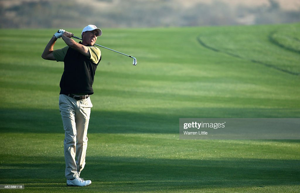 Richard Green of Australia in action during the proam ahead of the Omega Dubai Desert Classic on the Majlis Course at the Emirates Golf Club on...