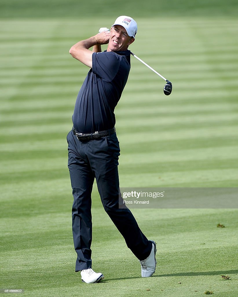 Richard Green of Australia in action during the third round of the Abu Dhabi HSBC Golf Championship at the Abu Dhabi Golf Club on January 17 2015 in...
