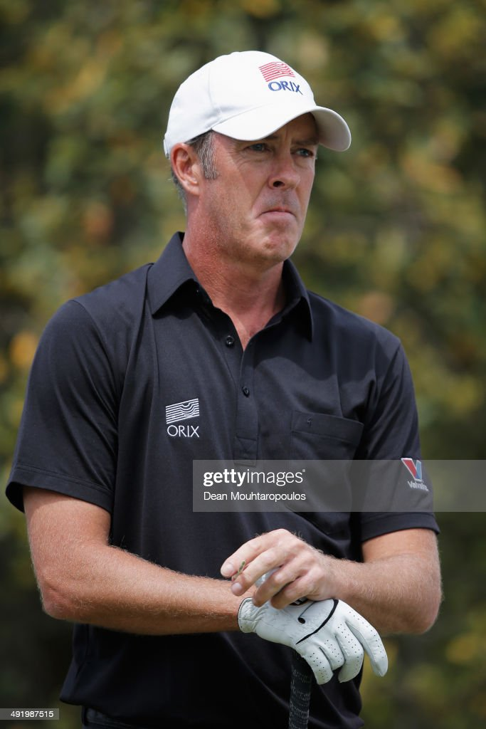 Richard Green of Australia looks on before he hits his tee shot on the 10th hole during the final round of the Open de Espana held at PGA Catalunya...
