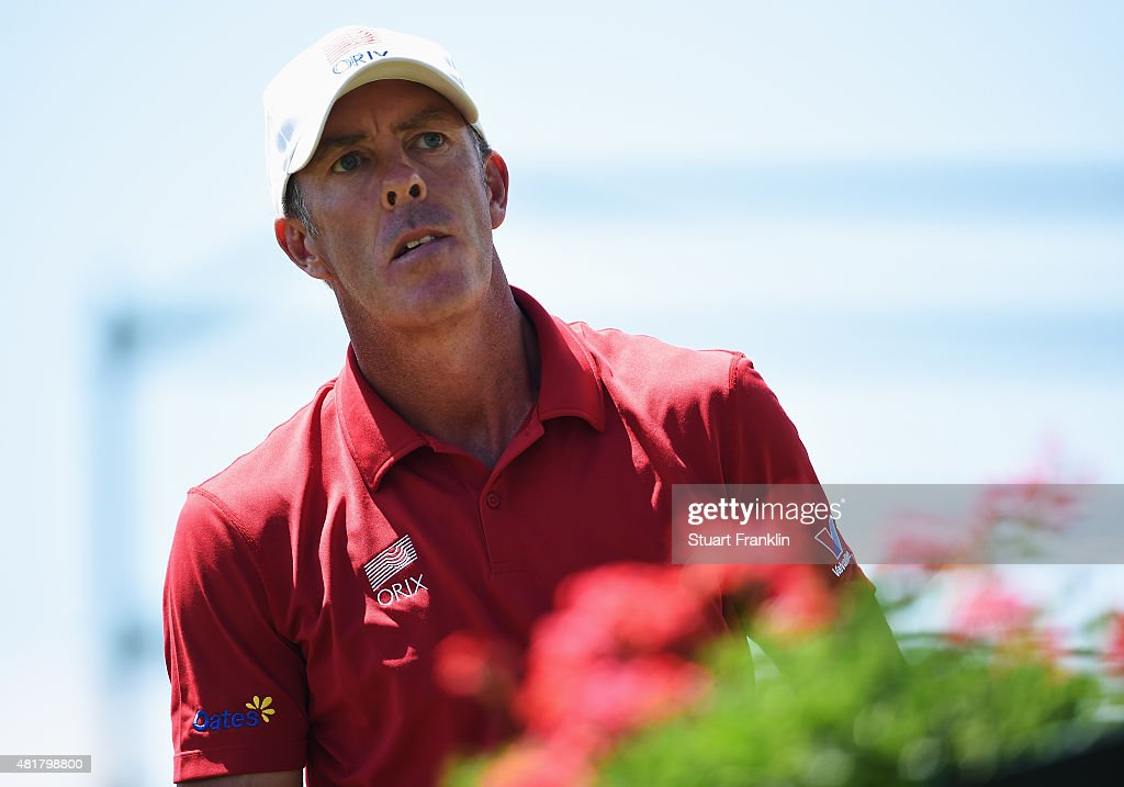 Richard Green of Australia looks on during the second round of the Omega European Masters at CranssurSierre Golf Club on July 24 2015 in CransMontana...