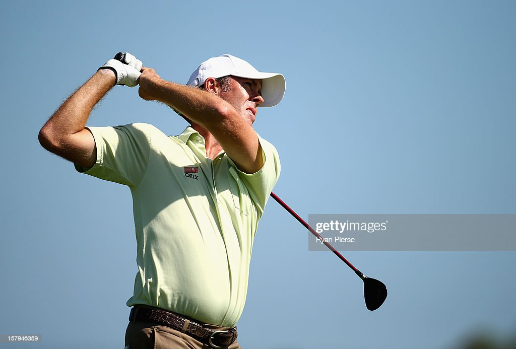 Richard Green of Australia plays a fairway shot during round three of the 2012 Australian Open at The Lakes Golf Club on December 8, 2012 in Sydney, Australia.