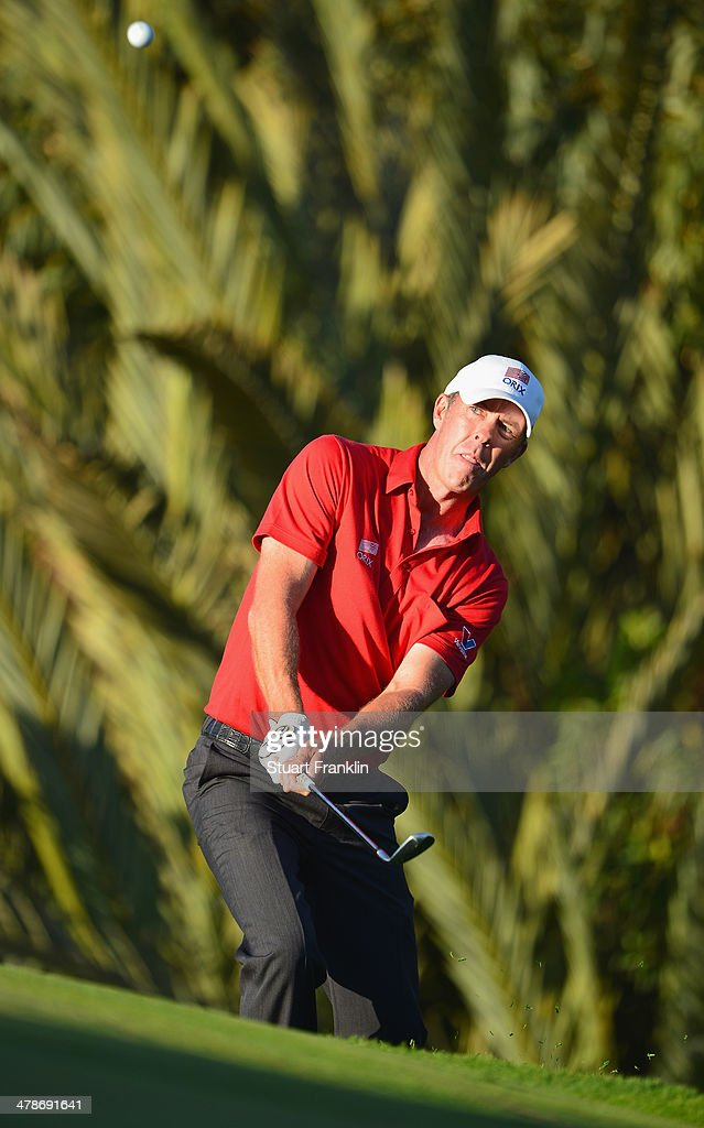 Richard Green of Australia plays a shot during the second round of the Trophee Hassan II Golf at Golf du Palais Royal on March 14 2014 in Agadir...