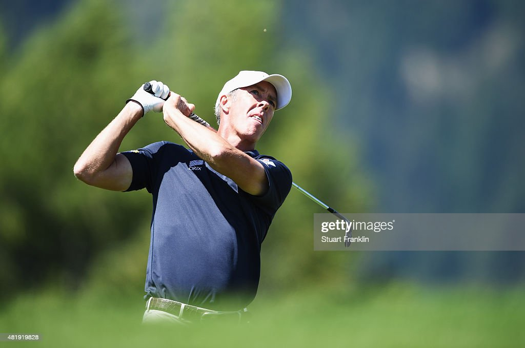 Richard Green of Australia plays a shot during the third round of the Omega European Masters at CranssurSierre Golf Club on July 25 2015 in...
