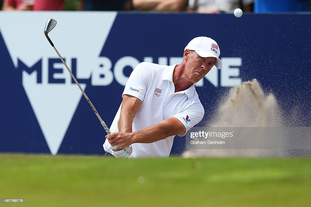 Richard Green of Australia plays a shot from the bunker during day one of the 2015 Australian Masters at Huntingdale Golf Course on November 19 2015...