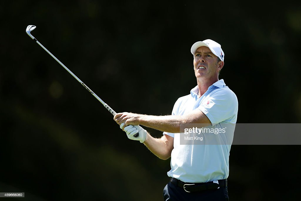 Richard Green of Australia plays an approach shot on the 9th hole during day two of the Australian Open at The Australian Golf Course on November 28...