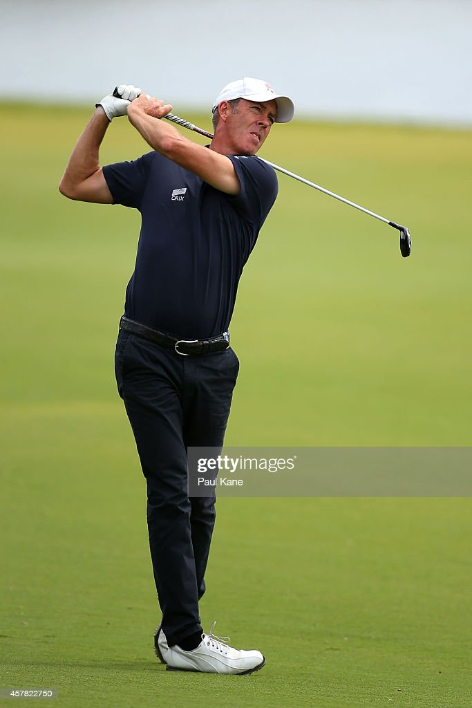 Richard Green of Australia plays his second shot on the 3rd hole during day three of the 2014 Perth International at Lake Karrinyup Country Club on...