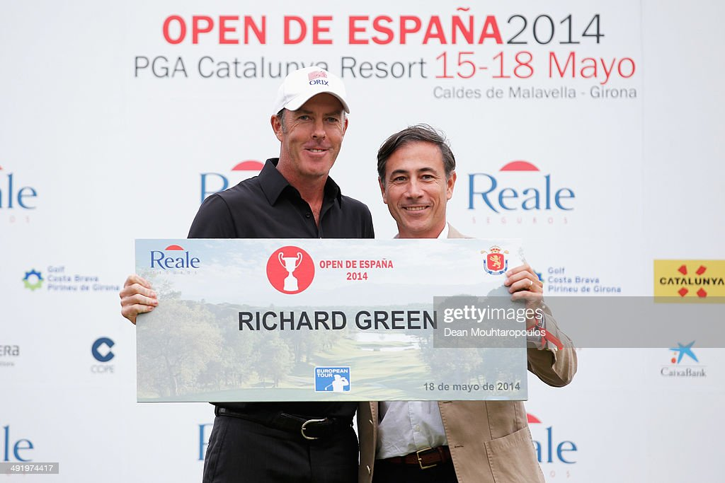 Richard Green of Australia poses after his second place in the Open de Espana held at PGA Catalunya Resort on May 18 2014 in Girona Spain