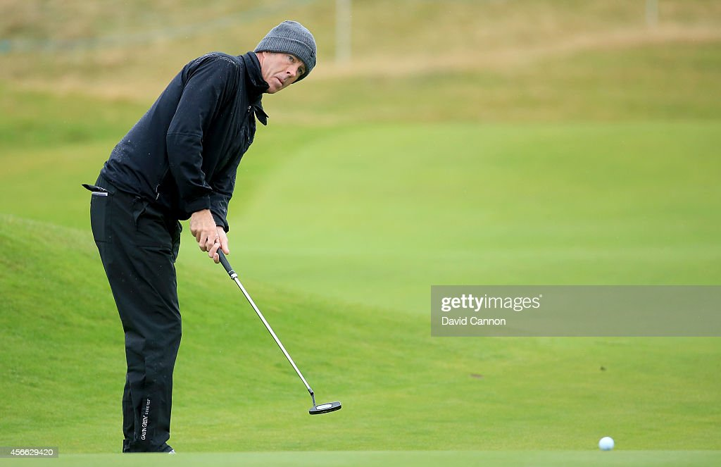 Richard Green of Australia putting on the par 3 16th hole during the third round of the 2014 Alfred Dunhill Links Championship on the Championship...