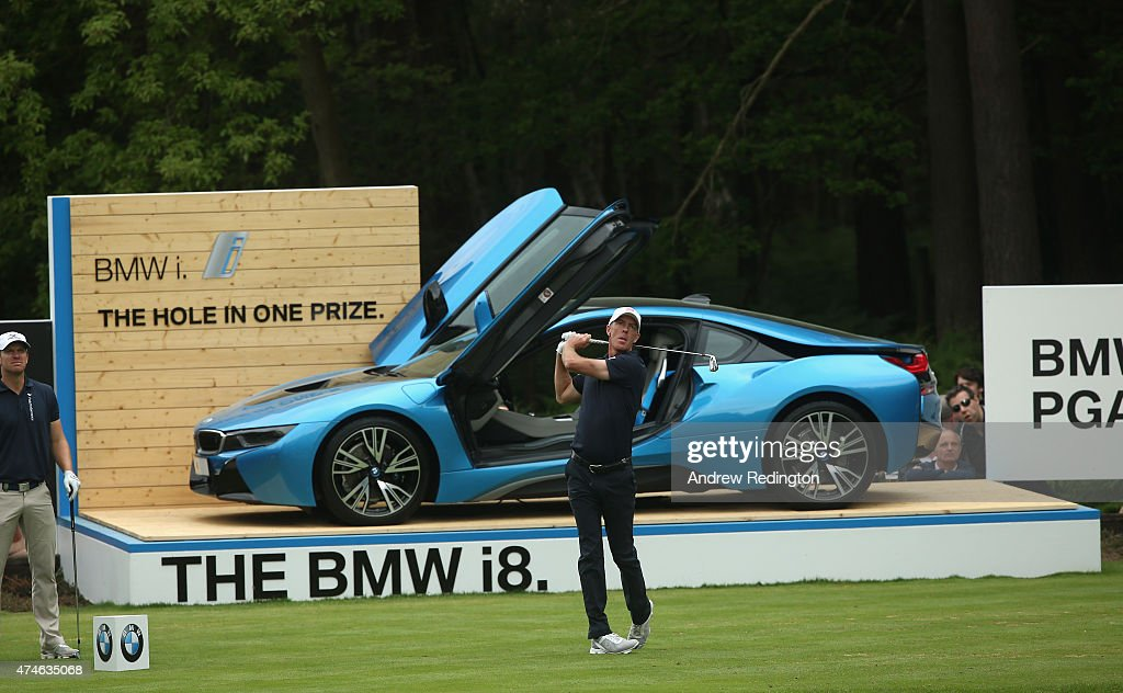 Richard Green of Australia tees off on the 14th hole during day 4 of the BMW PGA Championship at Wentworth on May 24 2015 in Virginia Water England