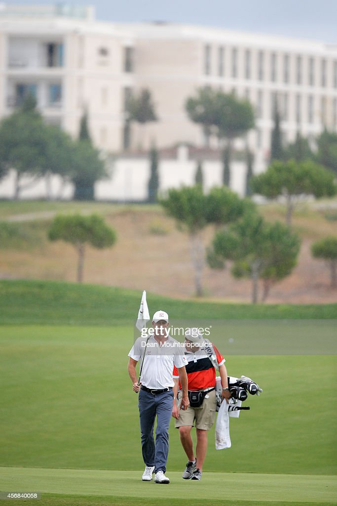 Richard Green of Australia walks on the 15th hole during the Portugal Masters ProAm held at the Oceanico Victoria Golf Course on October 8 2014 in...
