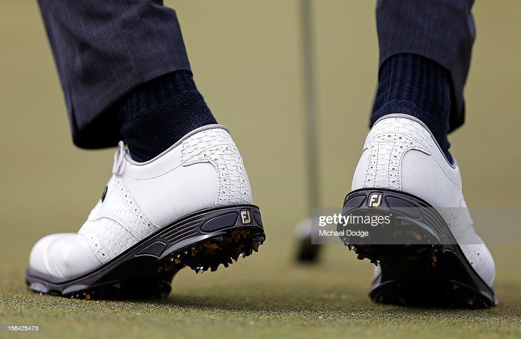 Richard Green wearing his spikes on the 10th hole during day one of the Australian Masters at Kingston Heath Golf Club on November 15, 2012 in Melbourne, Australia.