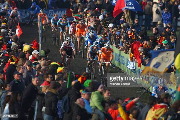 Richard Groenendaal of the Netherlands in the men's elite race during the UCI Cyclo Cross World Championship at Lago Le Bandie on January 27 2008 in...