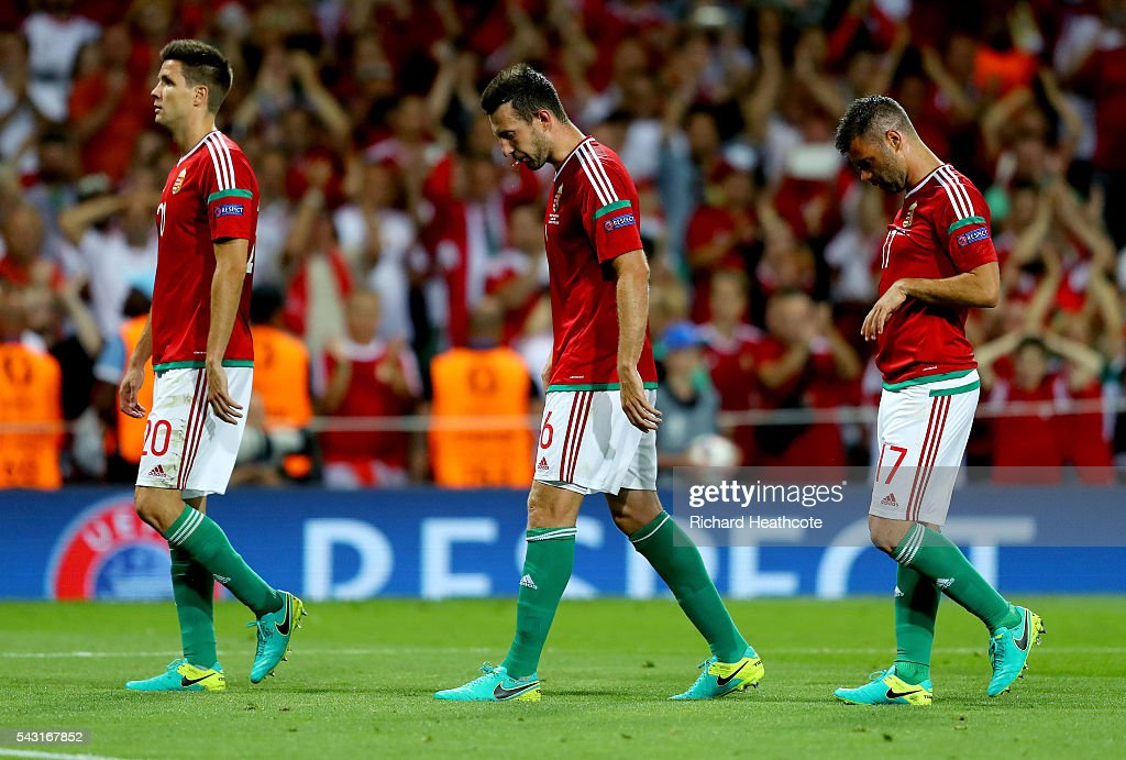 Richard Guzmics, Akos Elek and Nemanja Nikolic of Hungary show their dejection after their 0-4 defeat in the UEFA EURO 2016 round of 16 match between Hungary and Belgium at Stadium Municipal on June 26, 2016 in Toulouse, France.
