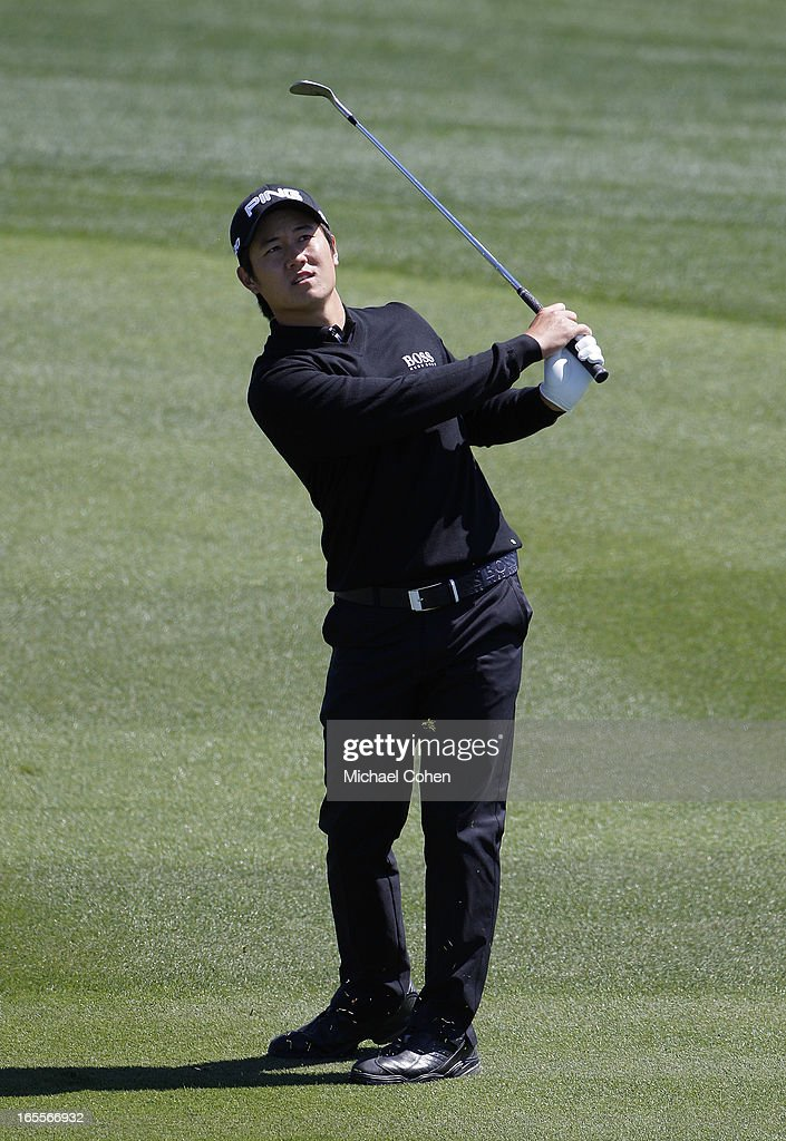Richard H. Lee hits a shot from the fairway during the first round of the Valero Texas Open held at the AT&T Oaks Course at TPC San Antonio on April 4, 2013 in San Antonio, Texas.