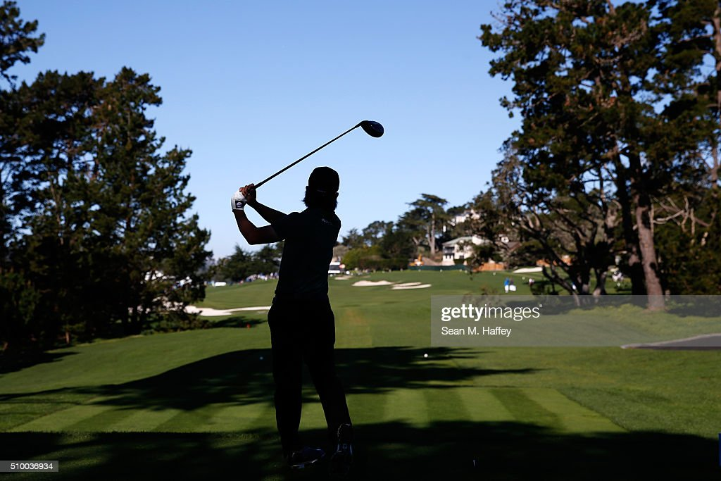 Richard H. Lee plays his tee shot on the 13th hole during round three of the AT&T Pebble Beach National Pro-Am at the Pebble Beach Golf Links on February 13, 2016 in Pebble Beach, California.