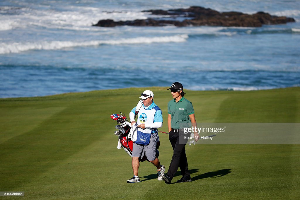 Richard H. Lee walks to the 10th green during round three of the AT&T Pebble Beach National Pro-Am at the Pebble Beach Golf Links on February 13, 2016 in Pebble Beach, California.