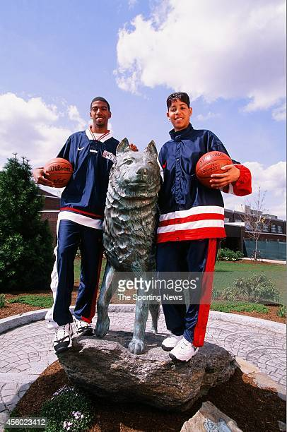 Richard Hamilton and Nykesha Sales of the Connecticut Huskies poses for a photo on April 27 1997