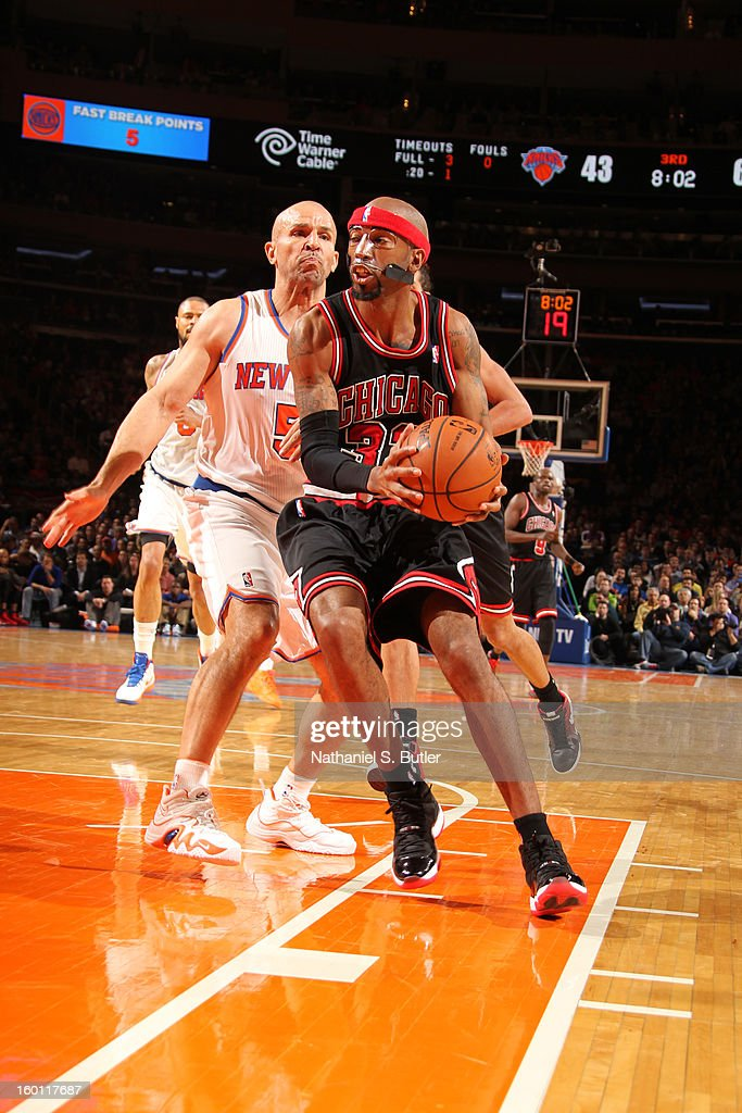 Richard Hamilton #34 of the Chicago Bulls drives against <a gi-track='captionPersonalityLinkClicked' href=/galleries/search?phrase=Jason+Kidd&family=editorial&specificpeople=201560 ng-click='$event.stopPropagation()'>Jason Kidd</a> #5 of the New York Knicks on January 11, 2013 at Madison Square Garden in New York City.