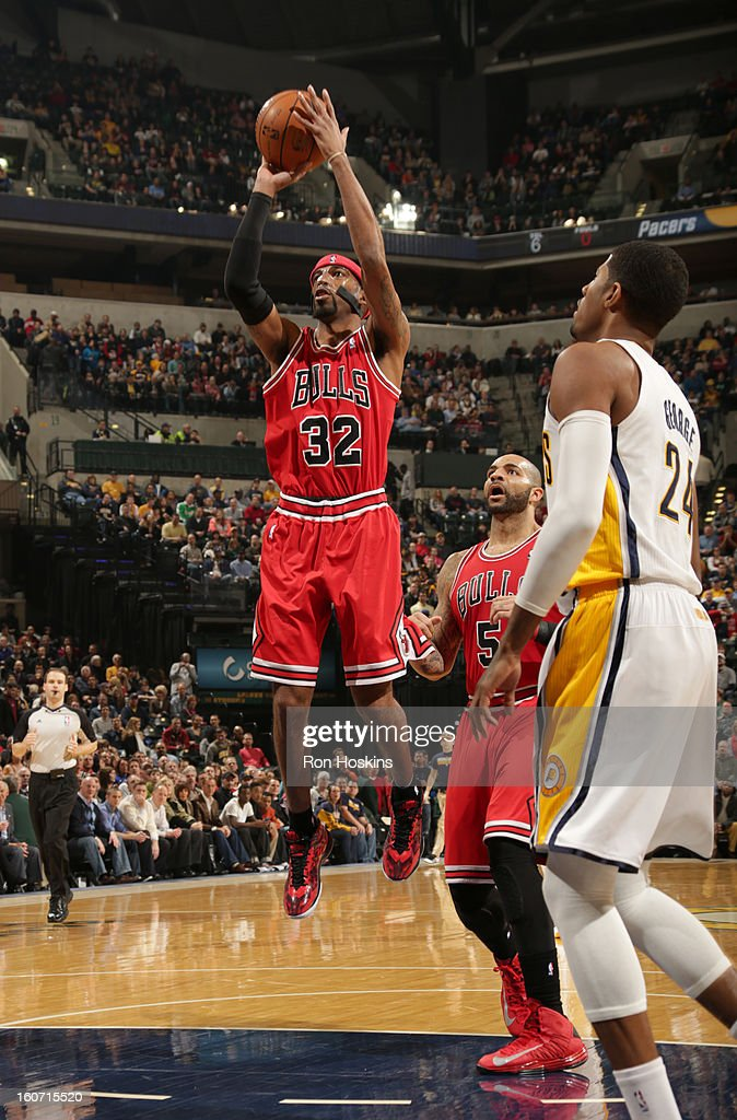 Richard Hamilton #32 of the Chicago Bulls goes for a jump shot during the game between the Indiana Pacers and the Chicago Bulls on February 4, 2013 at Bankers Life Fieldhouse in Indianapolis, Indiana.