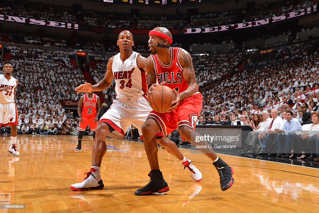 Richard Hamilton #32 of the Chicago Bulls handles the ball against Ray Allen #34 of the Miami Heat in Game Five of the Eastern Conference Semifinals during the 2013 NBA Playoffs on May 15, 2013 at American Airlines Arena in Miami, Florida.