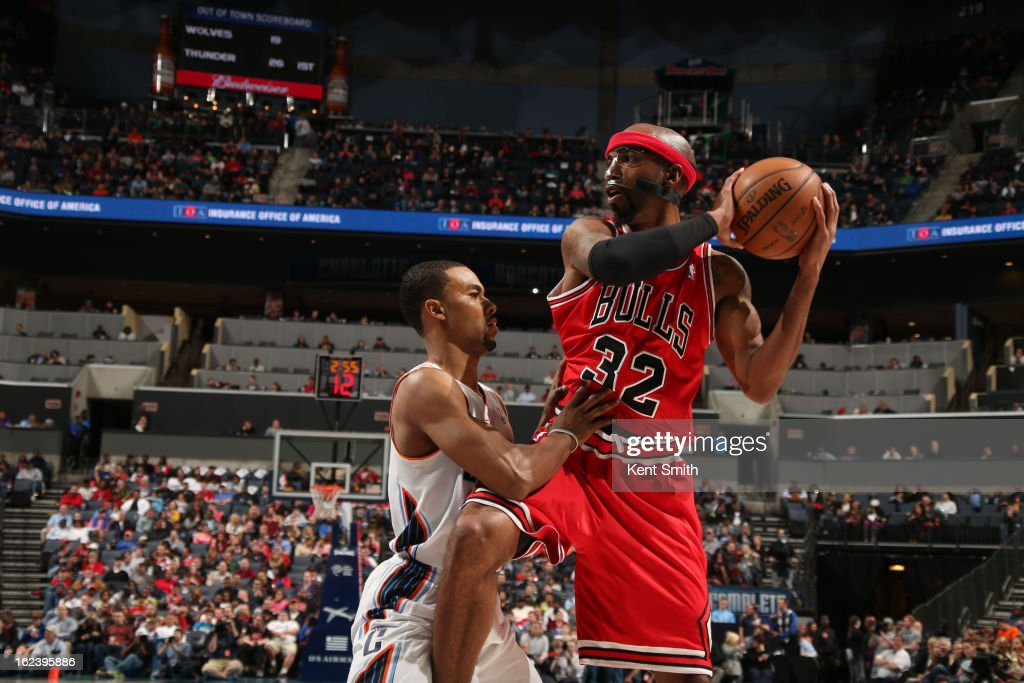 Richard Hamilton #32 of the Chicago Bulls looks to pass the ball against <a gi-track='captionPersonalityLinkClicked' href=/galleries/search?phrase=Ramon+Sessions&family=editorial&specificpeople=805440 ng-click='$event.stopPropagation()'>Ramon Sessions</a> #7 of the Charlotte Bobcats at the Time Warner Cable Arena on February 22, 2013 in Charlotte, North Carolina.
