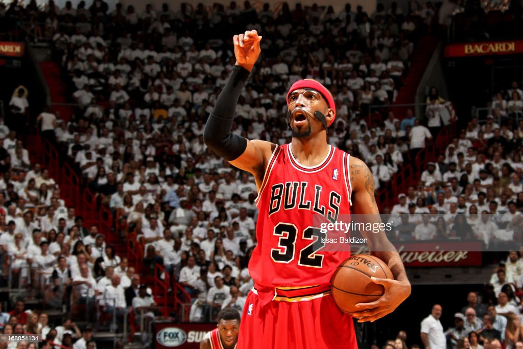 Richard Hamilton #32 of the Chicago Bulls prepares to shoot a free-throw against the Miami Heat in Game Five of the Eastern Conference Semifinals during the 2013 NBA Playoffs on May 15, 2013 at American Airlines Arena in Miami, Florida.