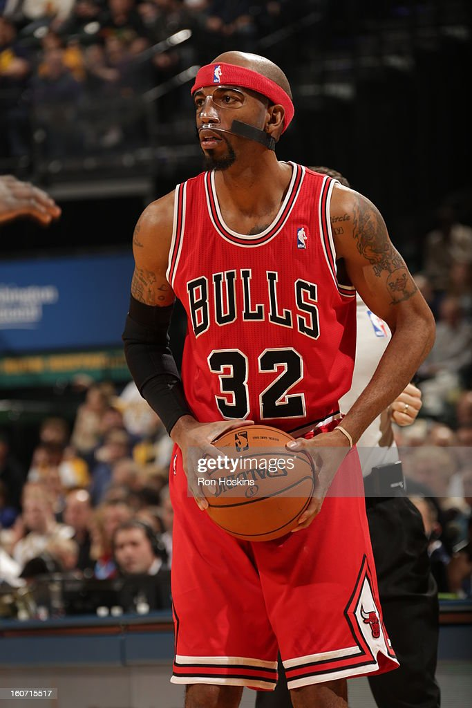 Richard Hamilton #32 of the Chicago Bulls protects the ball during the game between the Indiana Pacers and the Chicago Bulls on February 4, 2013 at Bankers Life Fieldhouse in Indianapolis, Indiana.