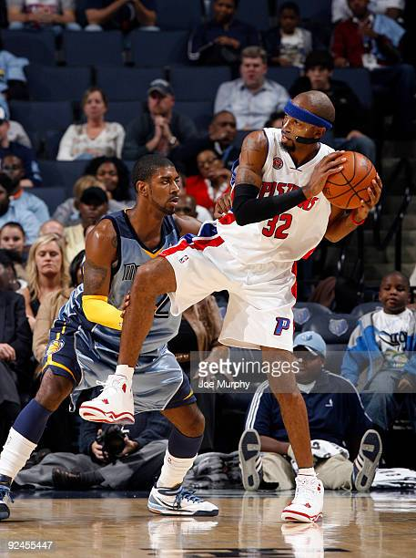 Richard Hamilton of the Detroit PIstons backs down OJ Mayo of the Memphis Grizzlies on October 28 2009 at FedExForum in Memphis Tennessee NOTE TO...