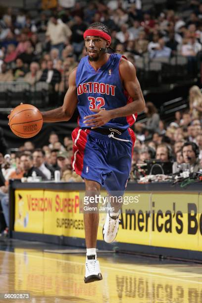 Richard Hamilton of the Detroit Pistons brings the ball upcourt during the preseason game against the Dallas Mavericks at American Airlines Arena on...