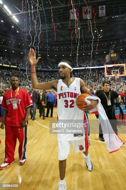Richard Hamilton of the Detroit Pistons celebrates after winning the Championship in Game five of the 2004 NBA Finals against the Los Angeles Lakers...