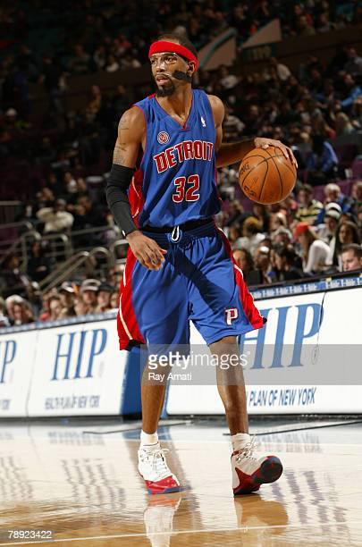 Richard Hamilton of the Detroit Pistons dribbles against the New York Knicks at Madison Square Garden January 13 2008 in New York City NOTE TO USER...