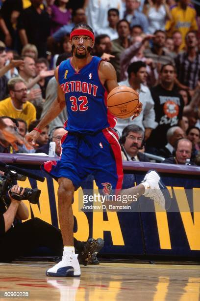 Richard Hamilton of the Detroit Pistons dribbles the ball against the Los Angeles Lakers during Game two of the 2004 NBA Finals at Staples Center on...