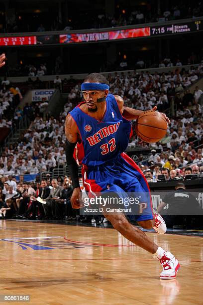Richard Hamilton of the Detroit Pistons drives against the Philadelphia 76ers in Game Three of the Eastern Conference Quaterfinals during the 2008...