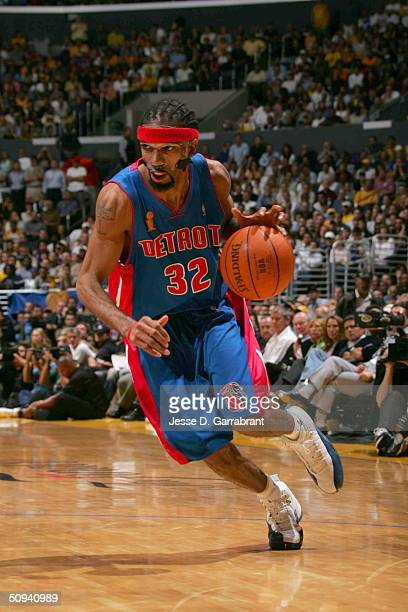 Richard Hamilton of the Detroit Pistons drives against the Los Angeles Lakers during game two of the 2004 NBA Finals at the Staples Center in Los...