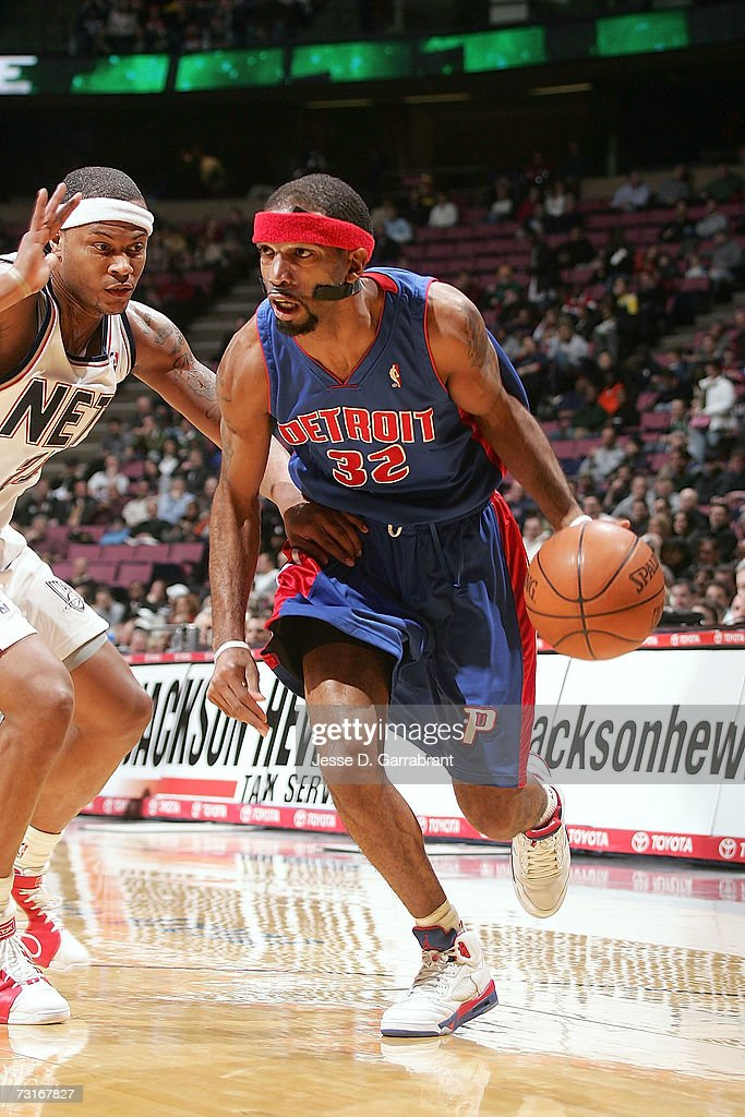 Richard Hamilton #32 of the Detroit Pistons drives against the New Jersey Nets on January 31, 2007 at the Continental Airlines Arena in East Rutherford, New Jersey.
