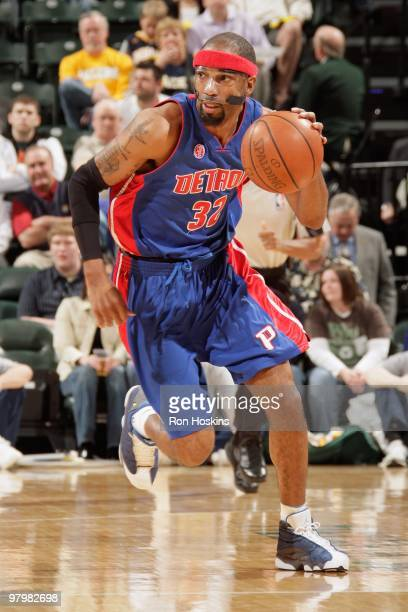 Richard Hamilton of the Detroit Pistons drives the ball upcourt against the Indiana Pacers during the game on March 19 2010 at Conseco Fieldhouse in...